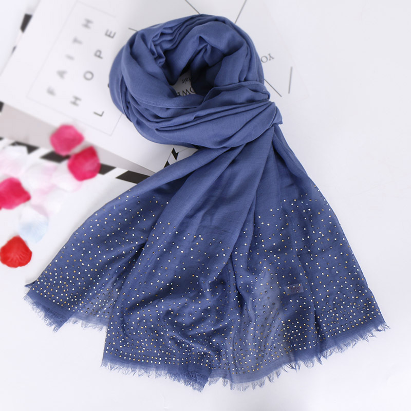 High Quality Malaysia Hijab Shawl Women Modal Cotton Rhinestone Head Scarf Sparking Diamond Muslim Headband Turban Fringe Shawl