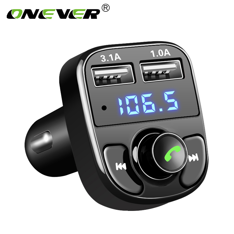 Onever Car Audio MP3 Player Quick Charge Dual USB Car Charger Bluetooth Handsfree