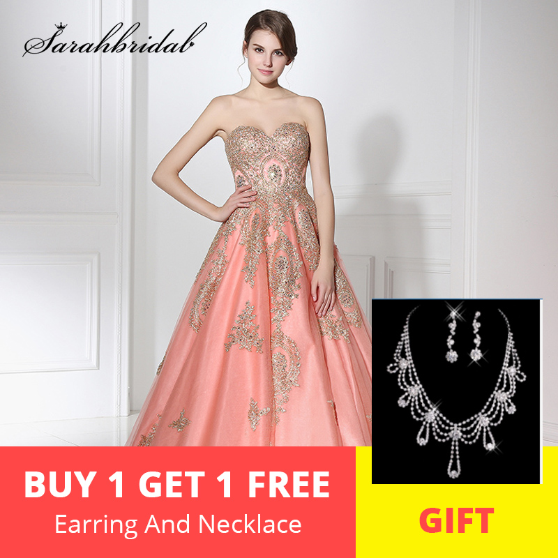 Elegant Coral Long Evening Dresses Sweetheart Embroidery Sleeveless Sweep Train Beaded A Line Prom Party Gowns