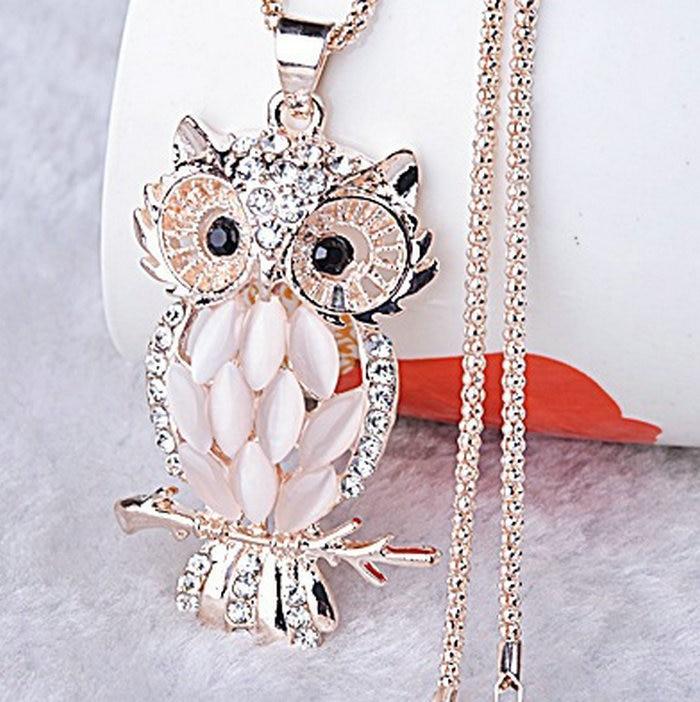 Vintage Owl Design Rhinestones Crystal Pendant Necklaces
