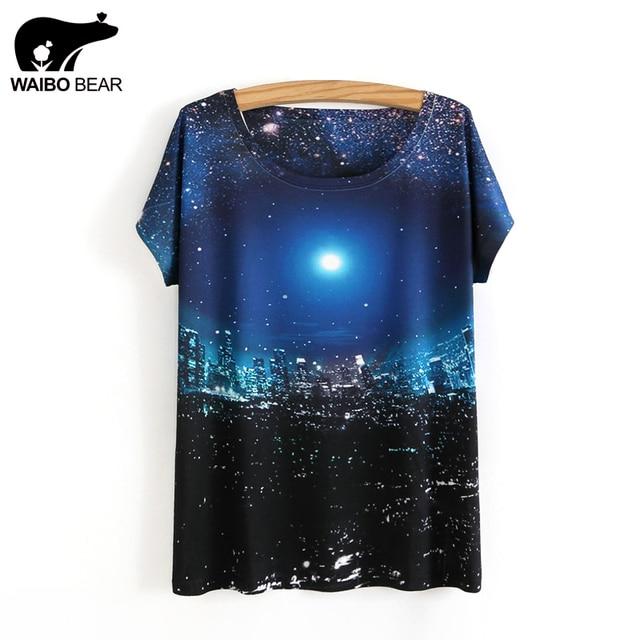 € 6.48 33% de réduction Femmes 3D Impression Ciel Étoilé Motif T shirt  Femelle Mince Col Rond T Shirt Filles Casual T shirts Camisas Femininas ... 976fcad9461b