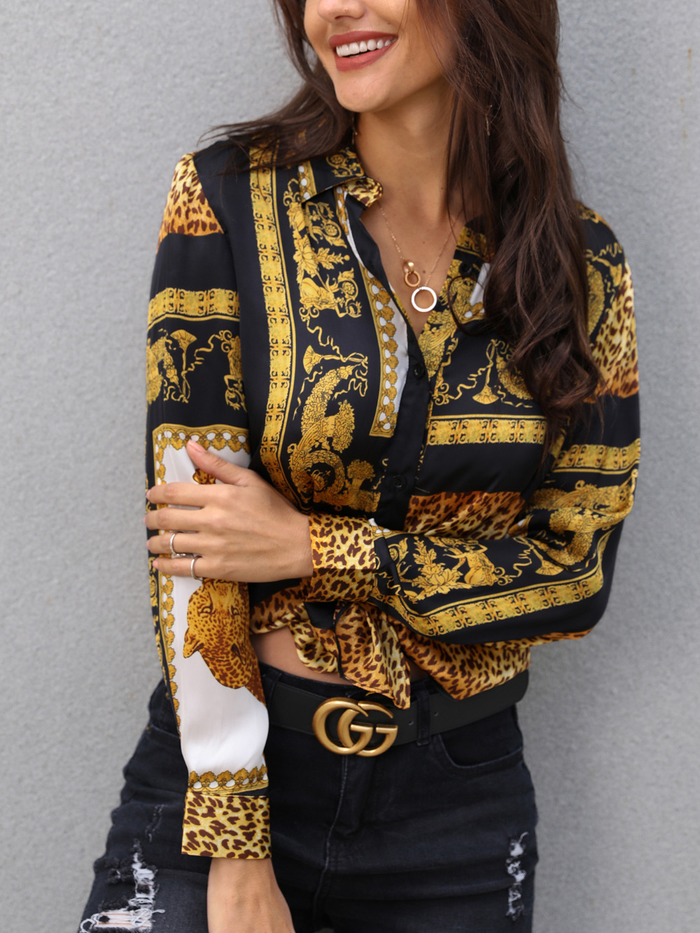 2020 Spring Women Elegant Party Loose Button Shirt Turn down Collar Female Leopard Print Knot Front