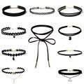 Mejor precio nueva moda 10 unidades mujeres choker cuerda negro cadena collar set stretch velvet classic gothic lace choker 1 Unidades 9198
