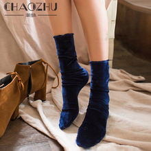 CHAOZHU Fashion Autumn Winter Women Elegant Shining Gold Velvet CORDUROY Socks Street Snap Vintage 5 Colors Stretch Lady