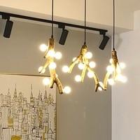 Винтаж светильники подвесной светильник промышленный светодиодный Творческий дерево Полюс лампы в стиле лофт спальня Lampara Techo Congante