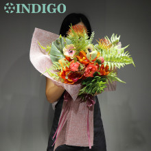 INDIGO Orange Bouquet Gift Anemone Cymbidium Arrangement Wedding Handmade Flower Party Exclusive Sales Free Shipping