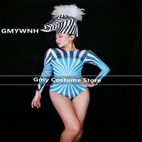 E03 Female sexy Stripe printing bodysuit dj singer stage show wears dresses jumpsuit bar performance outfits pole dance costumes