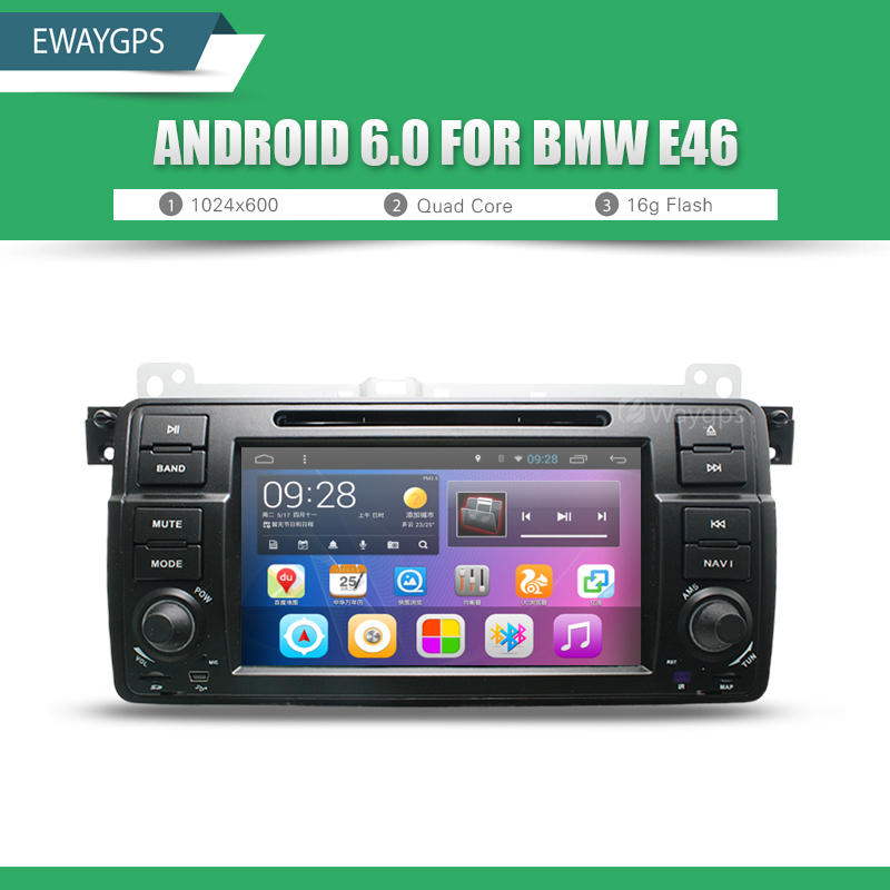 Android 6.0 Car DVD For BMW E46 car multimedia android Radio Stereo GPS Navigation Quad Core Bluetooth WIFI Radio EW801P6QH android 5 1 car radio double din stereo quad core gps navi wifi bluetooth rds sd usb subwoofer obd2 3g 4g apple play mirror link