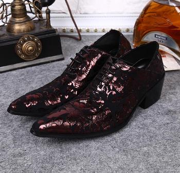 Shoes men lace up pointed toes vintage new printed toes genuine leather dress shoes high heels 7cm male casual oxfords plus size