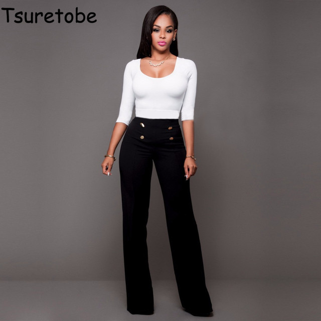 38748347d4b Tsuretobe High Waist Flare Pants Plus Size Women Trousers Female Office  Lady Casual Wide Leg Pants Stretch Long Pant