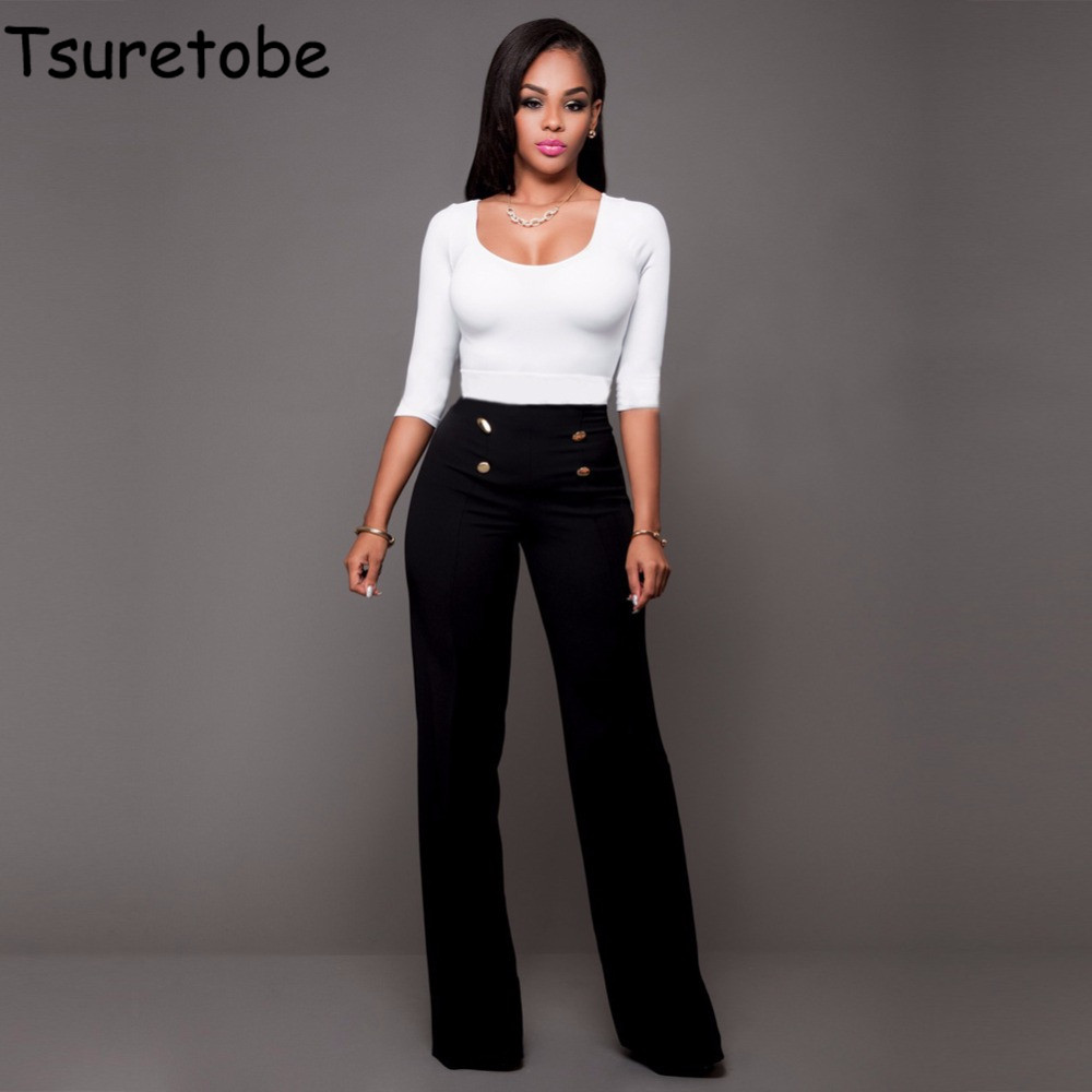 Tsuretobe High Waist Flare   Pants   Plus Size Women Trousers Female Office Lady Casual   Wide     Leg     Pants   Stretch Long   Pant