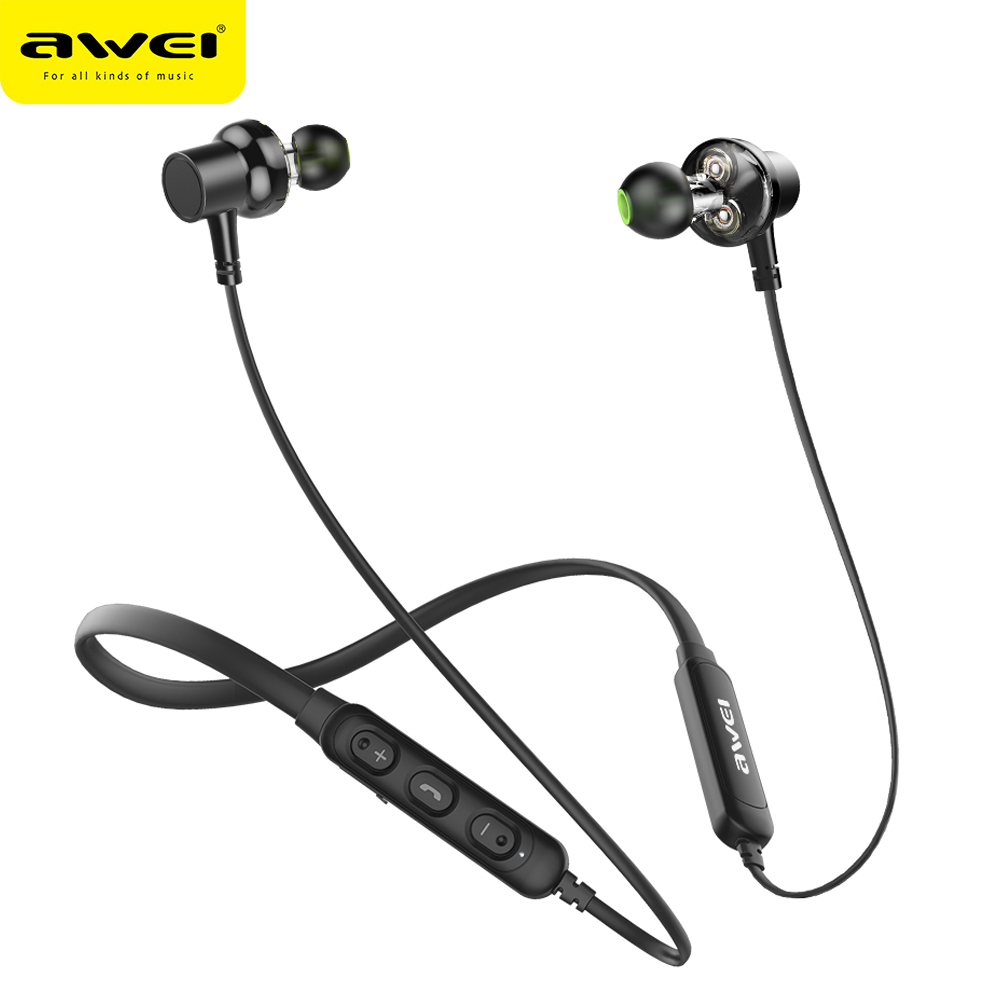 цена на AWEI G20BL Bluetooth Earphone Headphone Dual Driver Headset Wireless Sport Earphone Bass Sound Auriculares Inalambrico Bluetooth