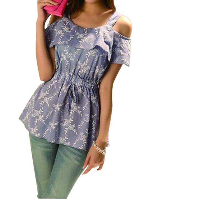 Moda Blusas Sexy Backless Camisola Floral Impressão Moda Babados Palavra Colarinho Slim Fina Halter Top Colete Tamanho Grande SL BH518