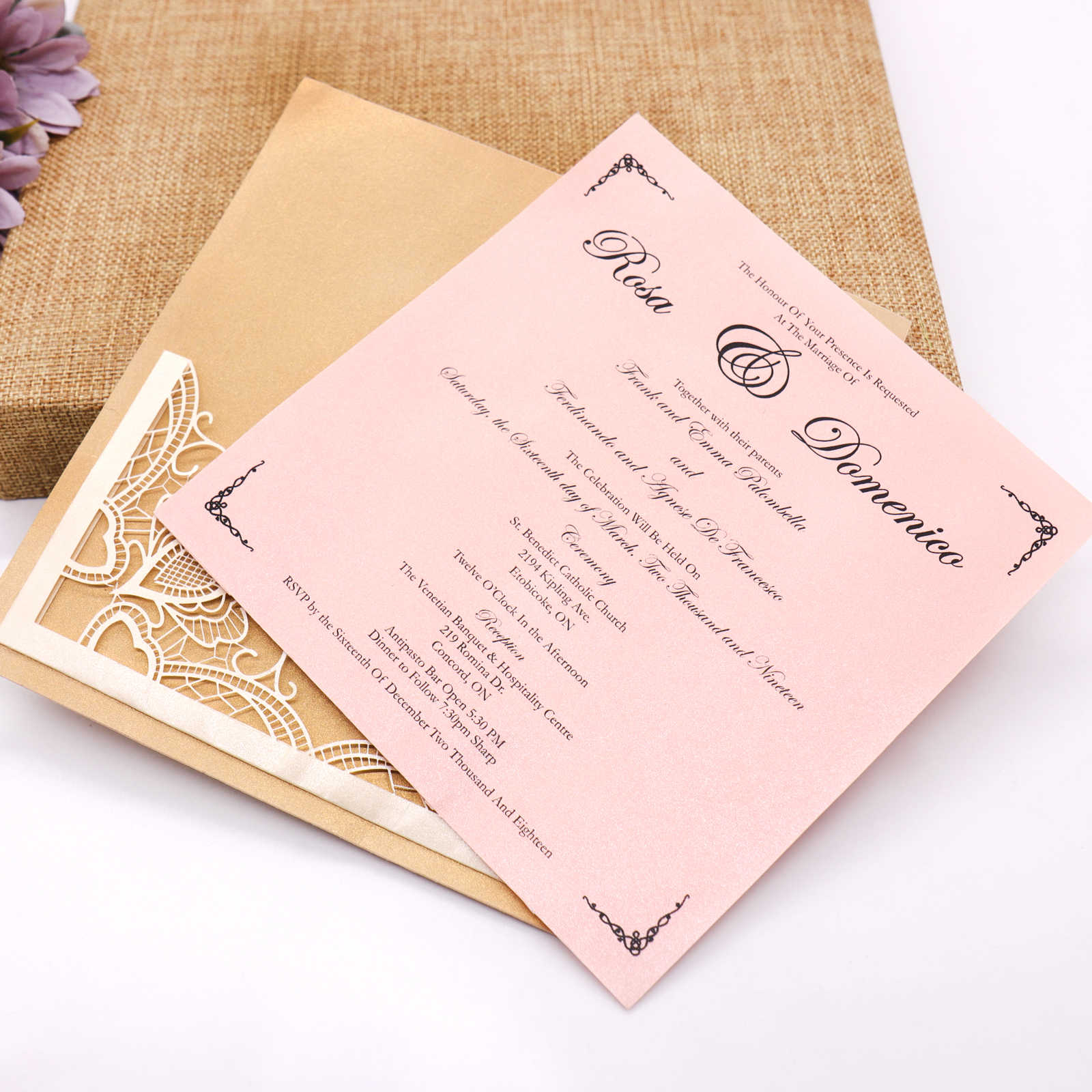 10 Pcs Lot Europe Style Wedding Pink Hollow Invitation Card Banquet Engagement Blank Inner Sheet Hollow Birthday Invitation
