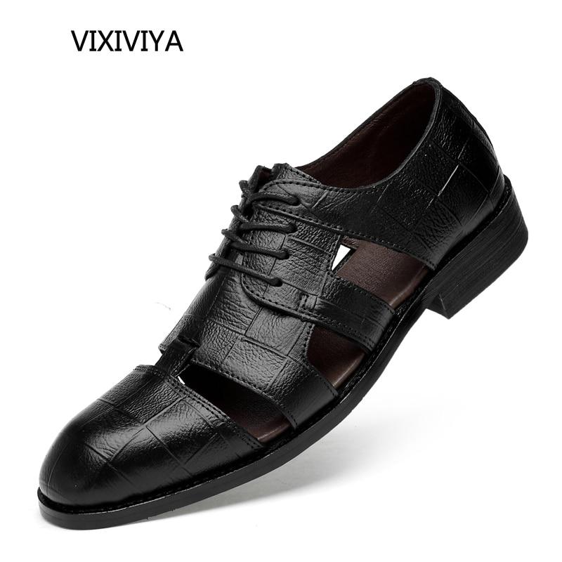 2018 nya herr sandaler äkta läder avslappnad sommar andas skor män - Herrskor