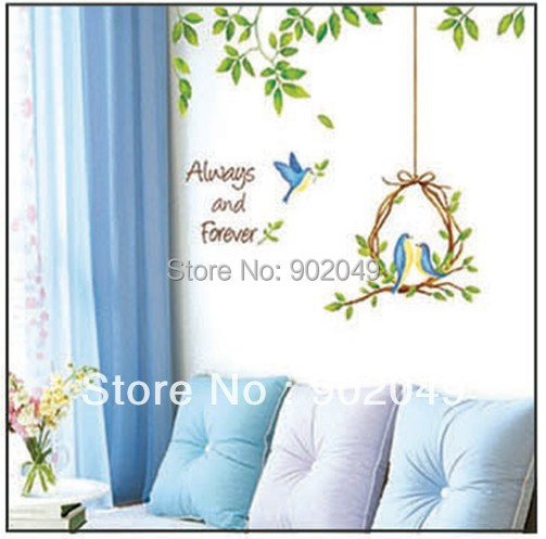 50x70cm wall stickers colorful always and forever two birds leaves wall decorations wall paper free shipping KC-2161