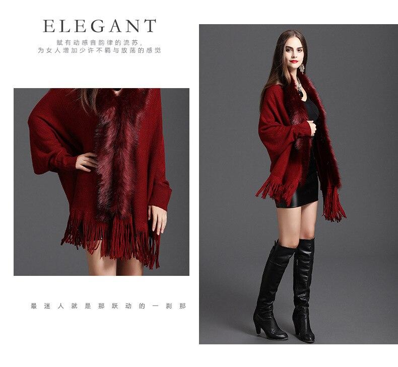 Faux Fur Collar Shawl Cardigan Tassel Winter Warm Coat 64
