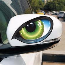 Retrovisor 3d reflexivo de olhos de gato, 2 peças, adesivo criativo, decalque