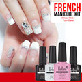 Belen UV Gel Nail Polish Pink White French Manicure Top Base Coat Free Tip Guides UV LED Gel Nail Polish Kit 4pcs Gel