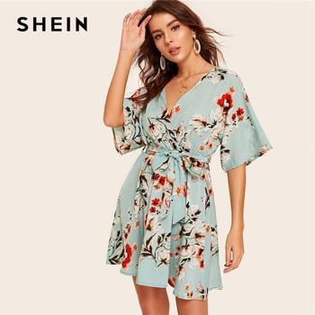 fea57ced66 SHEIN verde Boho Surplice cuello redondo con estampado Floral con cinturón  de media manga vestido de volante manga Verano de cintura alta para mujeres  una ...