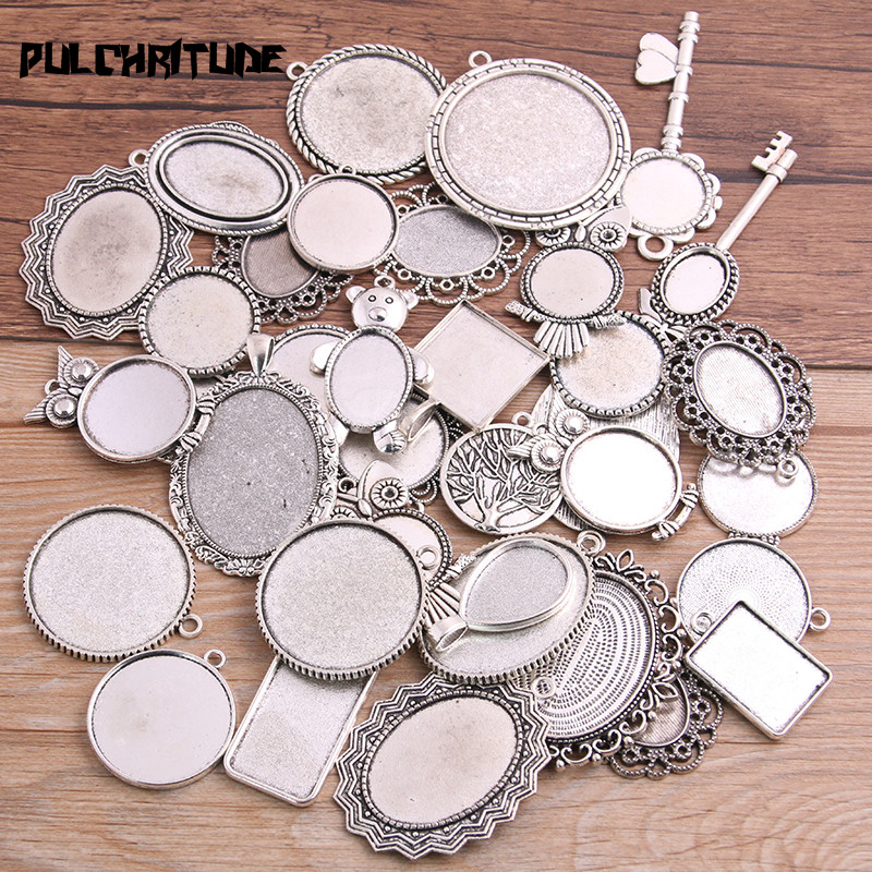 PULCHRITUDE 30g Random Antique Silver Pierced Mixed Size 5-200 Style Cabochon Base Setting Charms Pendant 1B