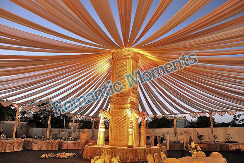 Us 436 05 5 Off 24 Pieces Outdoor Banquet Golden Ceiling Drape Canopy Drapery For Wedding Decoration 0 45m 12m Per Piece Wholesale Wdding Decor In