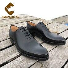 Роскошная обувь для мужчин sipriks, простые туфли-оксфорды, элегантные черные мужские современные классические модельные туфли с острым носком, настоящая резиновая мужская обувь
