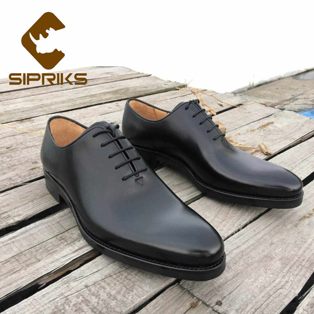 Sipriks Luxury Plain Toe Oxfords Elegant Black Mens Modern Classic Dress  Shoes Pointed Toe Real Rubber 364c91f77ca1