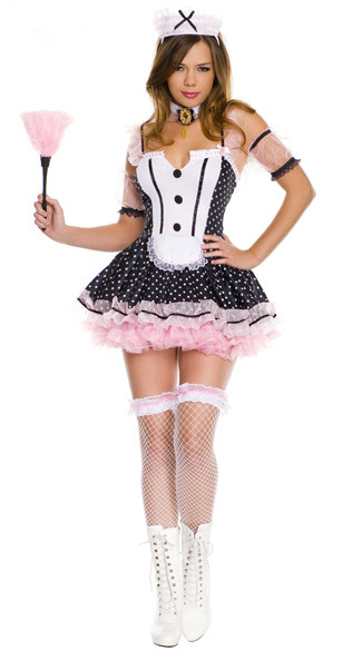 Sexy Polka Dot Lace Cosplay French Maid Costume For Wonder Woman Halloween Lolita Fancy Dirndl