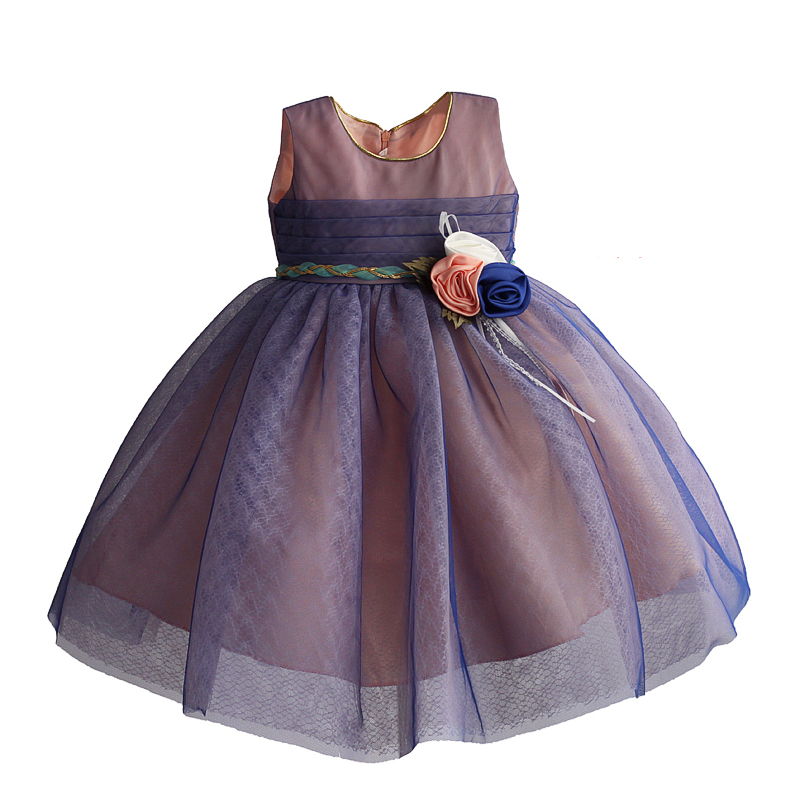 Girls Party Dress 4 Cols Princess Wedding Flower Girl Dress Sleeveless Rope Sashes Fashion Bow Lace Tulle Kids Dresses 1-8Y new high quality fashion excellent girl party dress with big lace bow color purple princess dresses for wedding and birthday