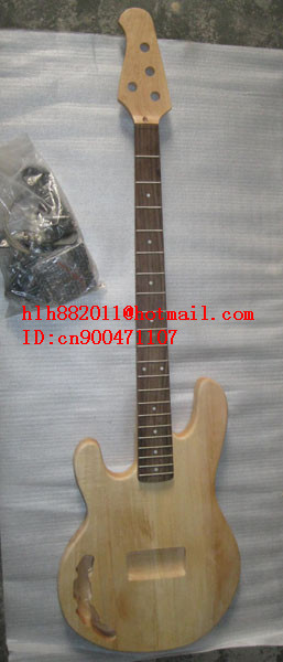 FREE SHIPPING UNFINISHED 4 strings left hand electric bass guitar with black hardware withour paint in natural color  +foam box vegas left hand natural color acoustic electric guitar free bag free shipping