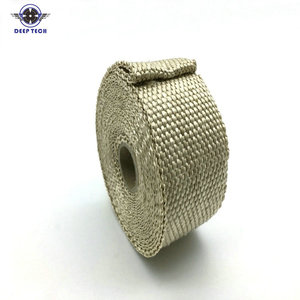 """Image 1 - 10m x  2"""" Free Shipping  Beige Exhaust Muffler Pipe Header Heat Resistant Exhaust Wrap With 10 Pcs Stainless Steel Cable Ties"""