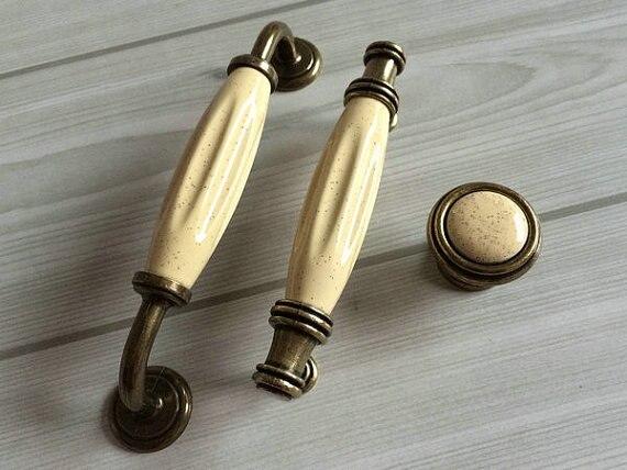 Kitchen Cabinet Dresser Drawer Knob Pulls Handles Cream White Ceramic Antique Brass Cupboard Door Hardware 96 128 mm