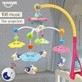 Huanger cama sino bebê chocalho musical berço móvel rotating bracket projetando toys para 0-12 meses newborn crianças batismo presente
