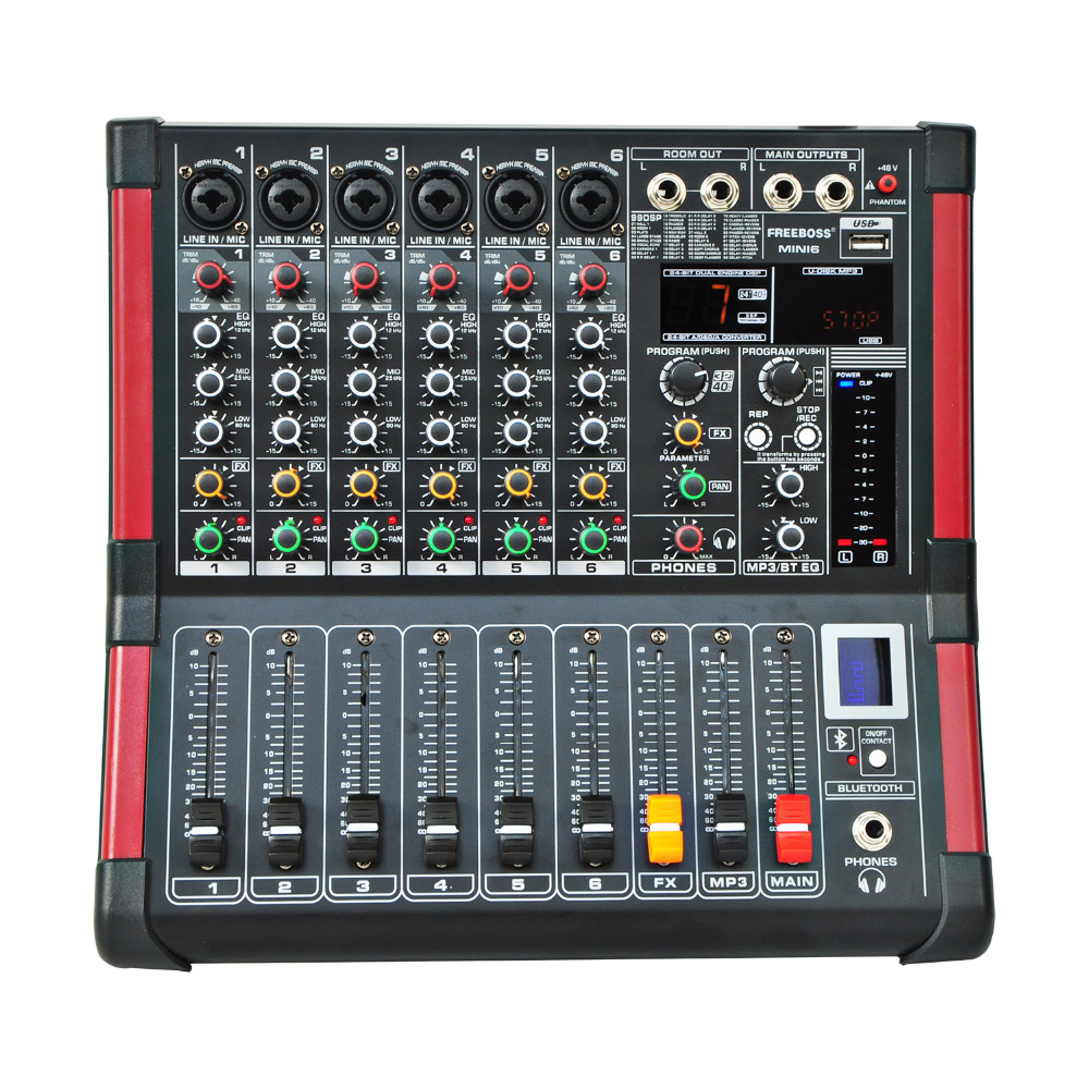 Freeboss MINI6 Bluetooth Record 6 Channels (Mono) 99 DSP effect USB Function Professional Audio Mixer freeboss me82 ultra low noise 4 mono 2 stereo 8 channels 16 dsp usb professional dj audio mixer console