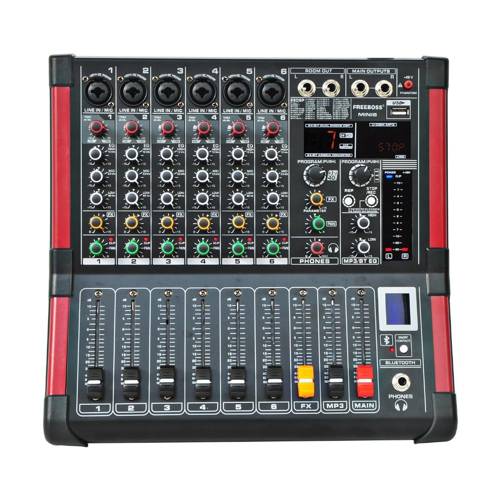 Freeboss MINI6 Bluetooth Record 6 Channels (Mono) 99 DSP Effect USB Function Professional Audio Mixer