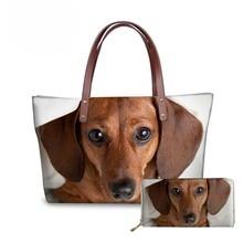 NOISYDESIGNS Dachshund Dog 3D Printing Womens Handbags Designer Top-handle Bags Purse for Girls Tote Bag Shoulder sac a main