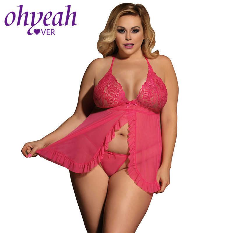3fdab2324764 Ohyeahlover Sexy Dress Erotic Traje Sexy Plus Size Pink Sheer Mesh Babydoll  Lingerie RM80526 Halter Lingerie