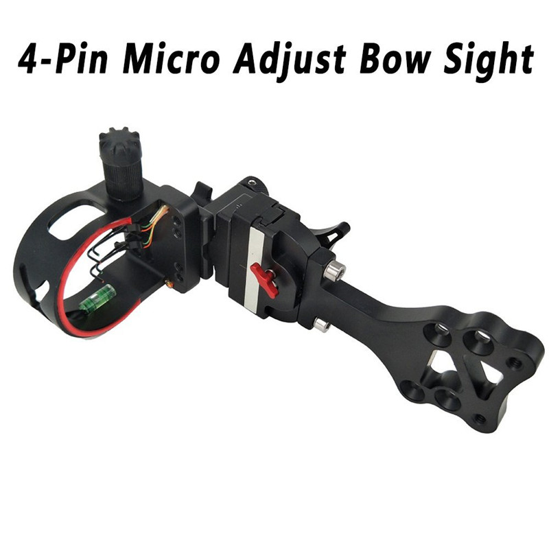 Archery Accessories 4-Pin Micro Tuning Bow Sight For Compound Bow Huning Shooting