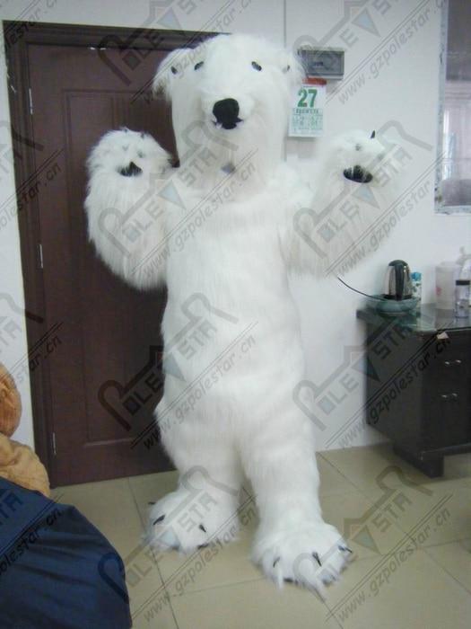 long white fur polar bear mascot costumes cartoon bear costumes for party EVA head simulation polar bear costumes