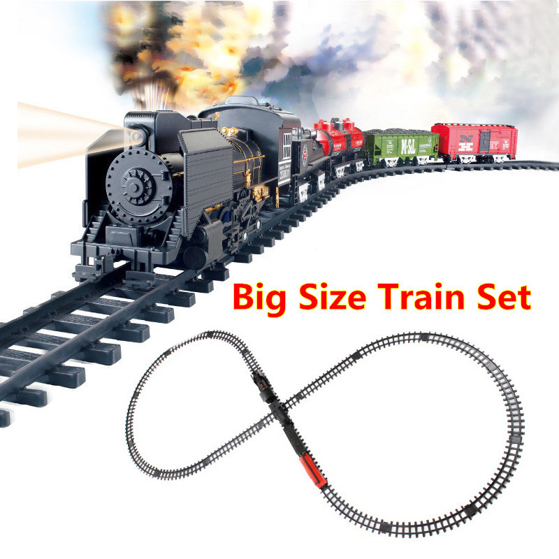 Большие размеры Классические игрушки Железная дорога на аккумуляторе железнодорожный поезд со звуком и курением электрическая игрушка же...