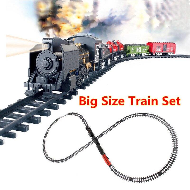 Train de Rail de chemin de fer à piles de jouets classiques de grande taille avec le son et le tabagisme voiture de Train de Train de jouet électrique pour noël