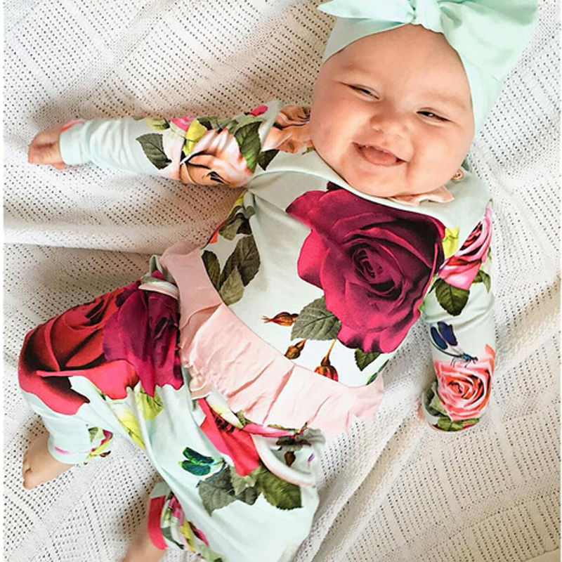 2PCS Newborn Infant Baby Girls Clothes Set Flower Cute T- Shirts Tops Long Sleeve Pants Outfits Girl Clothes Set newborn infant baby girl little sister romper pants headband outfits set clothes children infant girls sister clothing set 2pcs