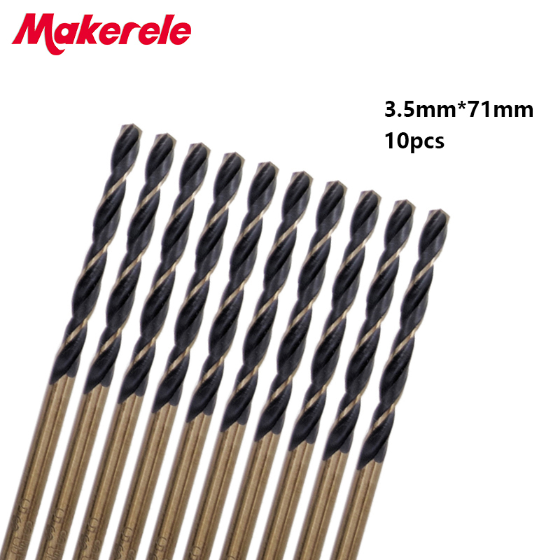 New 10pcs/set bits Micro HSS 3.5mm Straight Shank High Speed Steel Twist Drill Bit Woodworking  Tools For Metal 19pcs hss titanium twist drill bit set high speed steel straight round shank 1 10mm durable power tools for metal drilling
