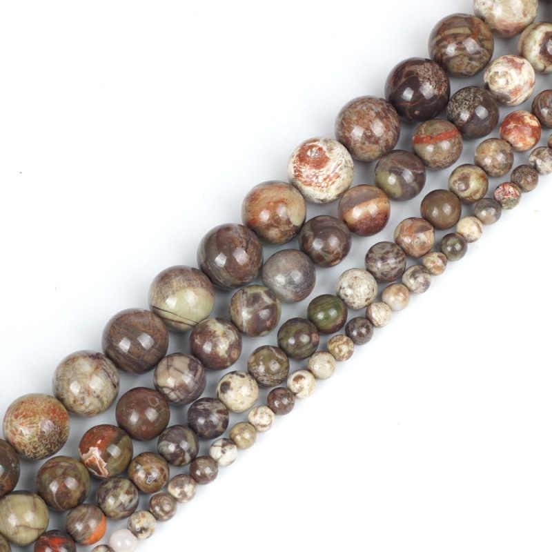 ลูกปัดหินธรรมชาติสีน้ำตาลหยกลาย Agates Jasper Dragon Bloodstone อัญมณี 4/6/8/10 มิลลิเมตรลูกปัดสำหรับมุสลิม Rosarys ทำ