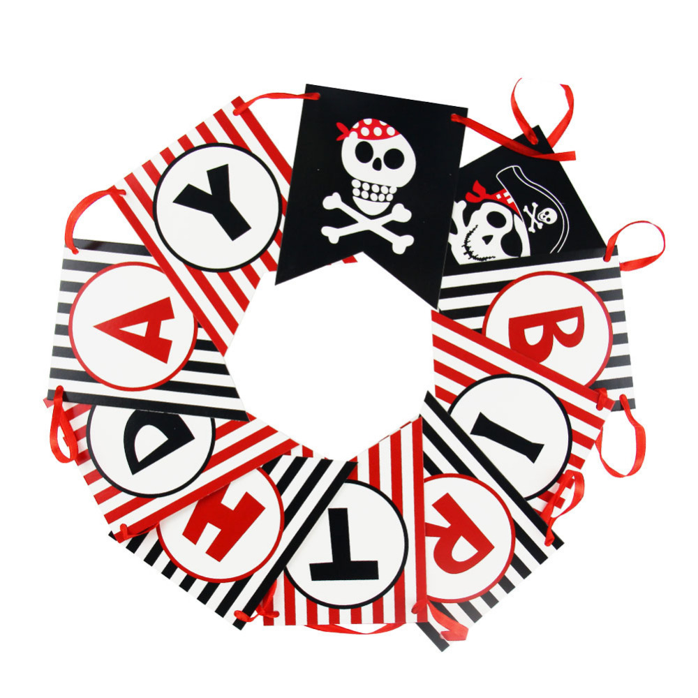Pirate Happy Birthday Banner Theme Polka Dots Striped Printed Party Photo Prop First
