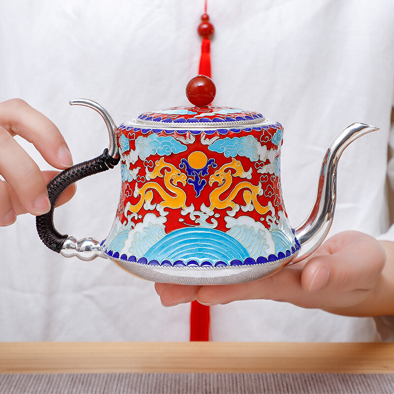 Pure Silver Cloisonne Longteng Four Seas Silver Tea Set Pure Handmade Silver Fetus Enamel Color Kung Fu Tea Set Suit|Teaware Sets| |  - title=