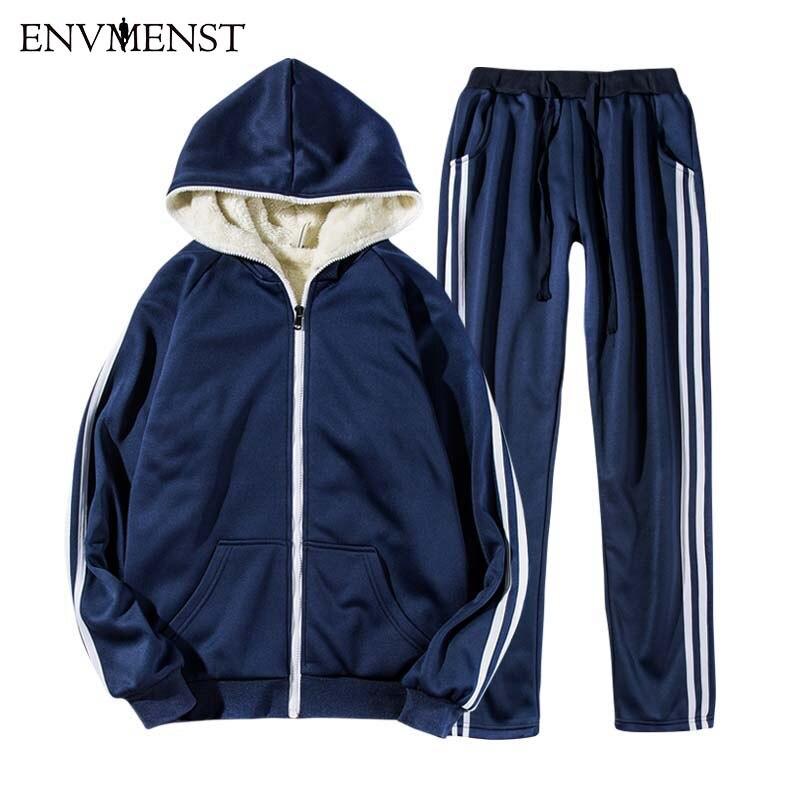 Envmenst NEW Men Winter Plus Velvet Tracksuits Striped Sportswear 2PC Jackets Pants Thick Men s Clothing