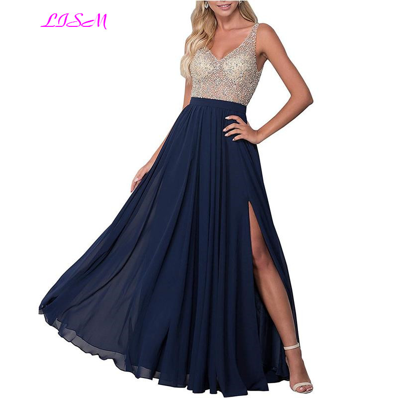 Sexy Deep V-Neck Illusion Beaded Crystals Bodice Prom Dresses Side Split Chiffon Long Evening Gowns 2019 Elegant Party Dress(China)