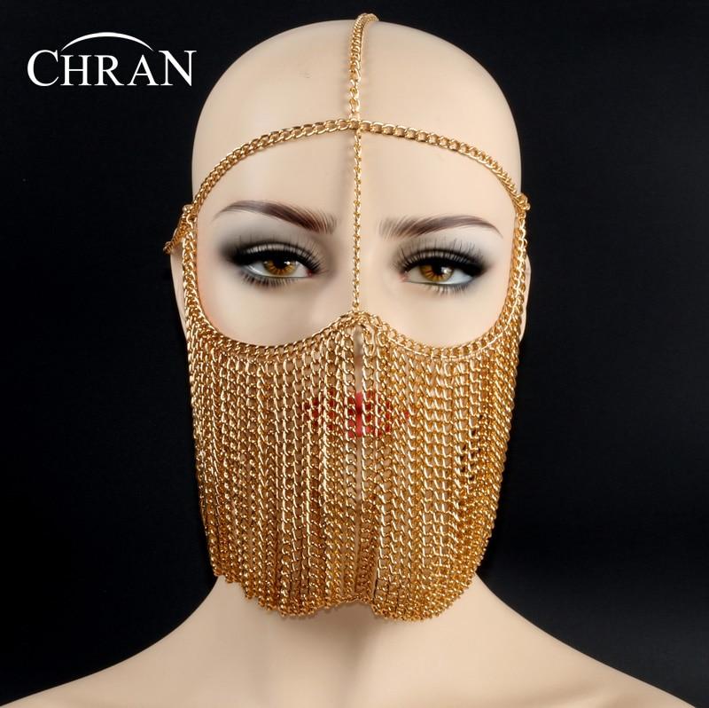 Chran Luxury Fashion Women Punk Multi Layer Metal Head Chain Jewelry Forehead Headband Hair Piece Face Mask Body Jewelry HDC425